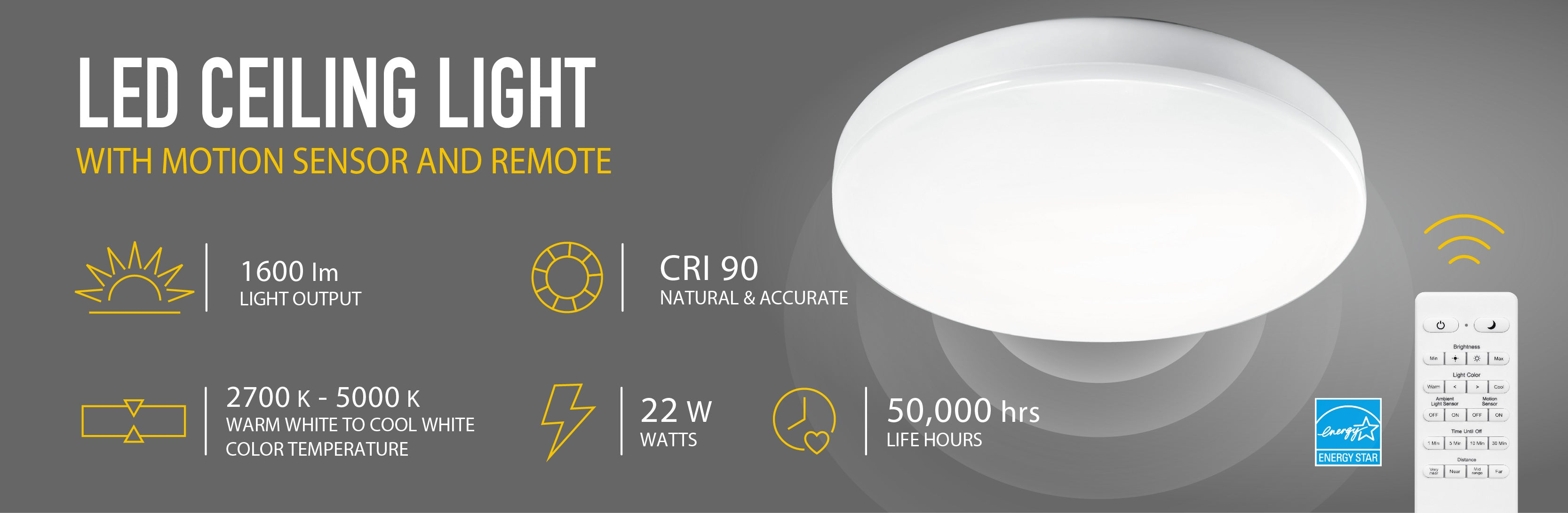 Led Ceiling Light With Motion Sensor And Remote Koda