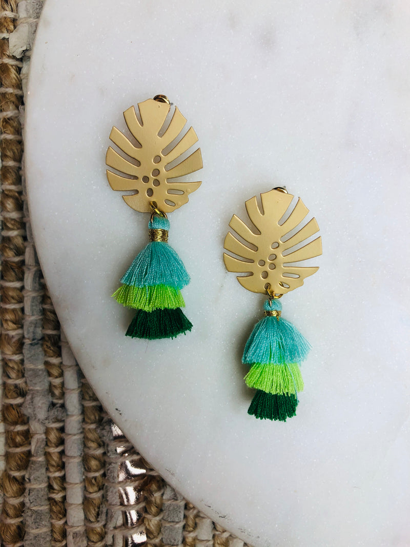 Stephanie Palm Tassel Earring