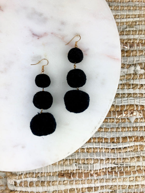 Alanis Triple Pom Pom Earrings
