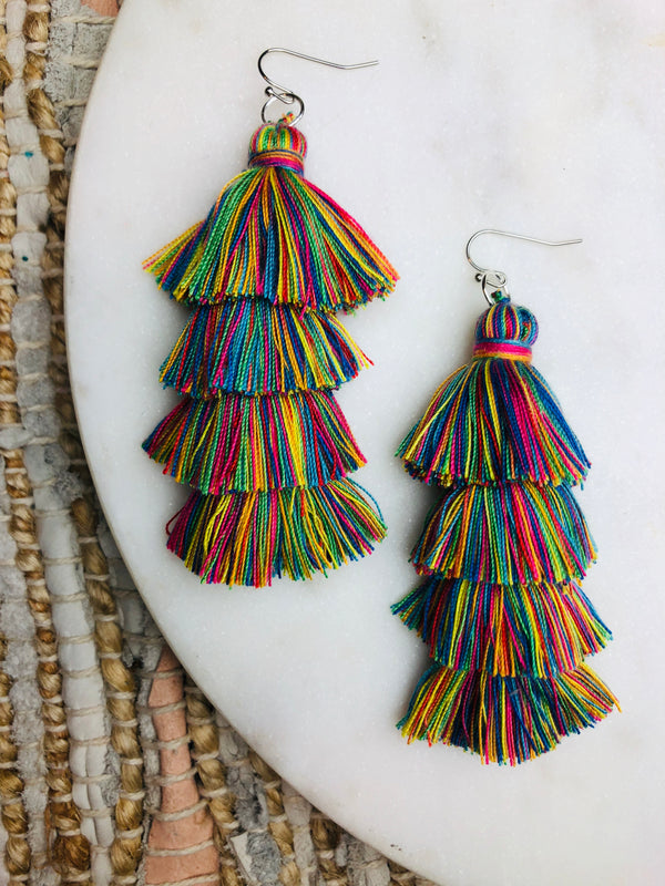 Katy Rainbow Tassel Earring BACKORDERED