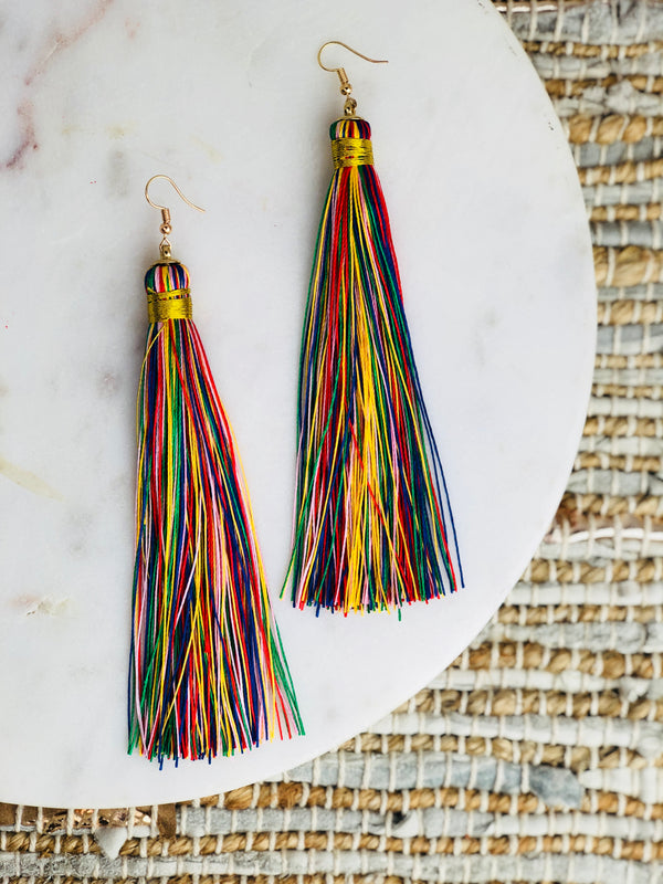 Gaga Rainbow Tassel Earrings