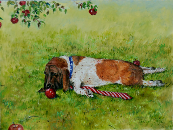 Lucy in the Grass with Apple