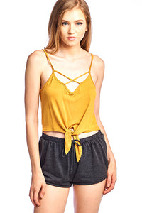Front Tied Crop Spaghetti top