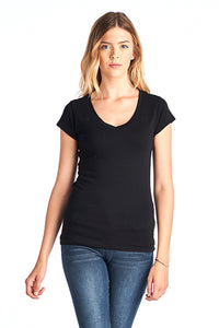 COTTON SPANDEX FITTED V NECK TOP