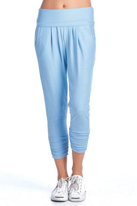 Women's Pastel Ribbed Fold Over Scrunch Pants