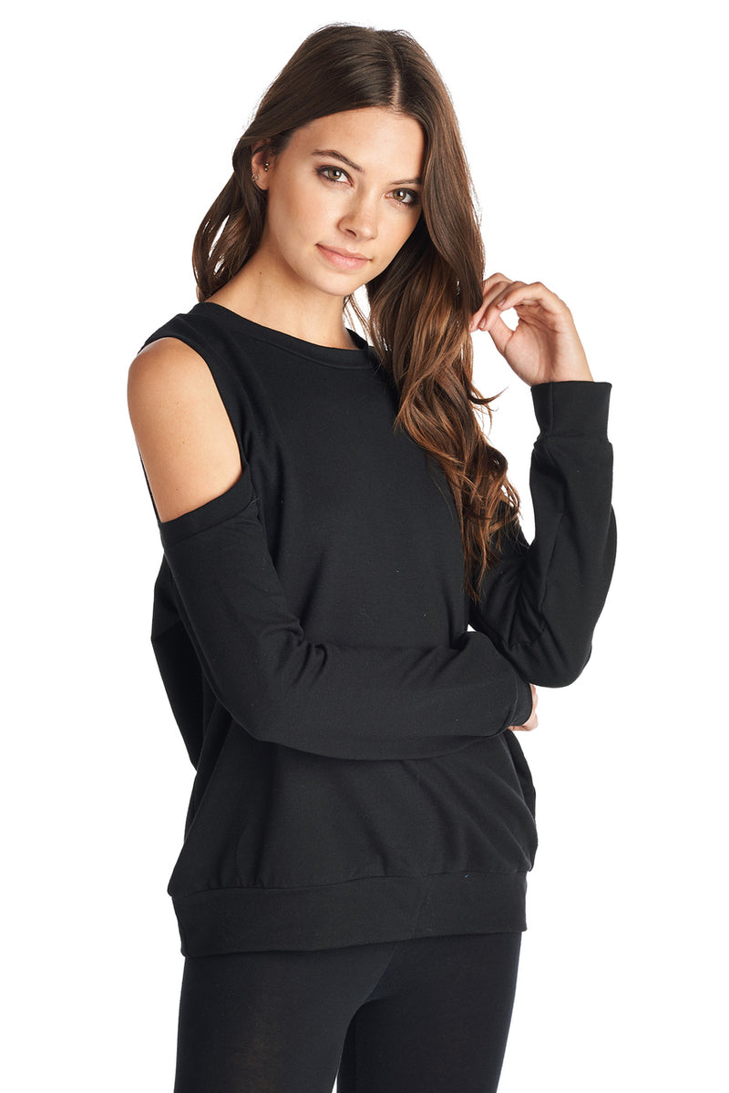 Women's French Terry Open Shoulder Sweater