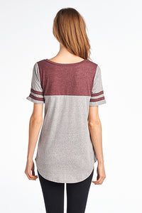 TRIBLEND 2 LINE SLEEVE 2 COLOR ROUND NECK TOP