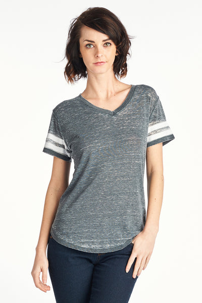 Women's MINERAL WASHED 2 LINE SLEEVE V NECK TOP