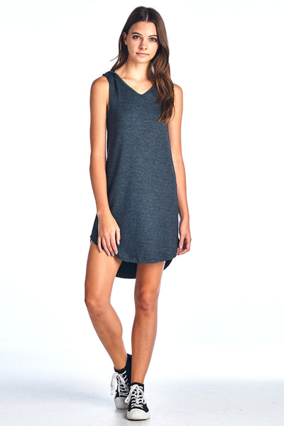 Women's 4X1 RIB HOOD TANK HIGH LOW DRESS