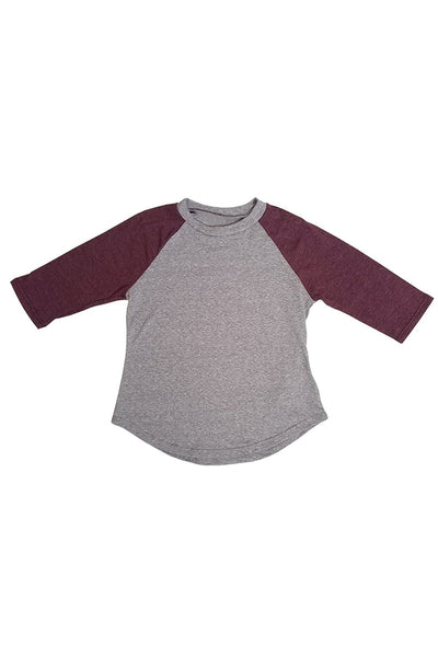 Kids BOY & GIRL Triblend Raglan 3 Quarter Top (2-13 Yrs)