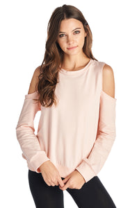 French Terry Open Shoulder Sweater