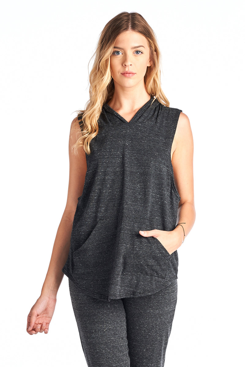 Triblend Sleeveless Pocket Hoodie