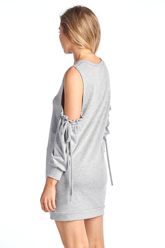 Women's Cold Shoulder 3 Quarter String Dress