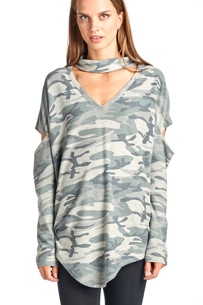 Camo French Terry Choker Open Arm Long Sleeve