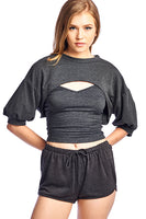 French terry bishop sleeves crop top