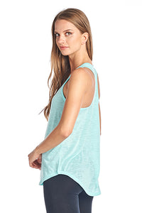 Slub racer back tank top