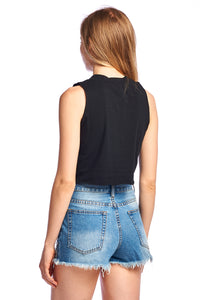 Women's Eyelet Lace-up Crop Tank Top