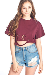 Vintage Grunged Crop Top