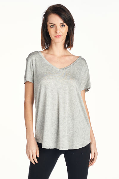 Women's Silky Loose Fit Deep V Neck Top