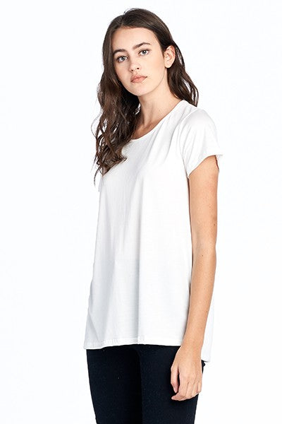 WIDE CREW NECK TOP WITH SIDE SLIT