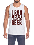 Men's Soft Regular Tank Top with Run Beer Print