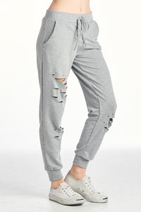 FRENCH TERRY GRUNGED LONG SWEAT PANTS