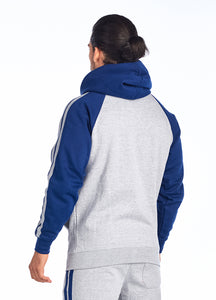 Unisex Brushed Inside Stripe Zipper Hoodie