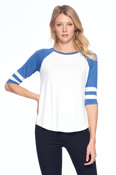 Two Color Striped 3/4 Sleeve Top