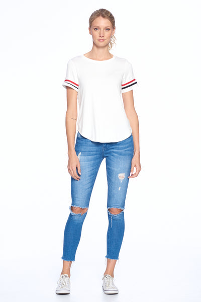 Striped Short Sleeve Crew Neck