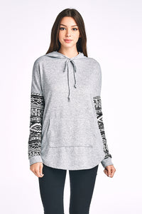 Aztec Print Sleeve Hoodie With Pockets