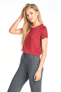 Silky Short Sleeve Middle Length Crop Top