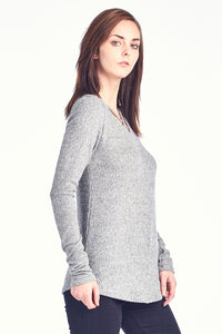 Brush Rib Double X Long Sleeve Top