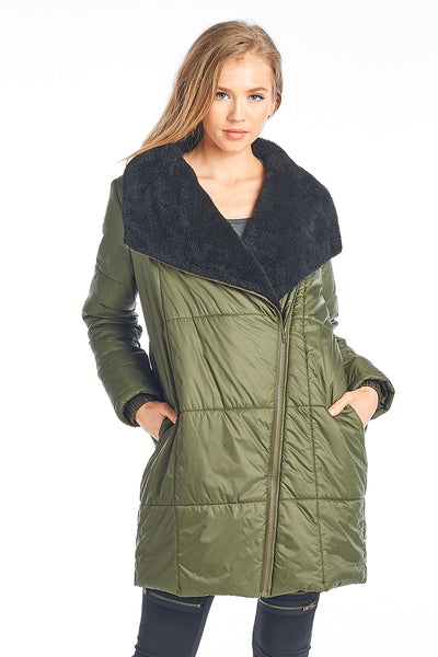 Zipper Light Weight Warm Long Jacket
