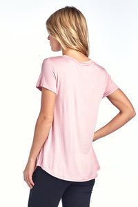 Silky Loose Fit V Neck Top