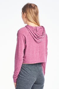 Two Tone Mineral Washed Crop Hoodie