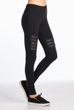 Cotton Spandex Zipper Patched Full Length Leggings