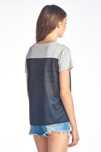 Mesh jersey & Rayon Span Contrast Top