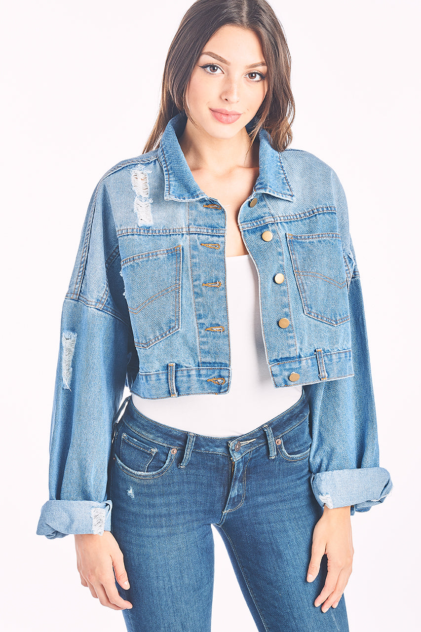 Premium Vintage Washed Crop Denim Jacket