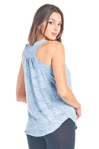 Plain Flowy Burnout Racerback Tank Top