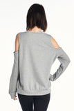 Plain Soft Baby French Terry Open Shoulder Sweater