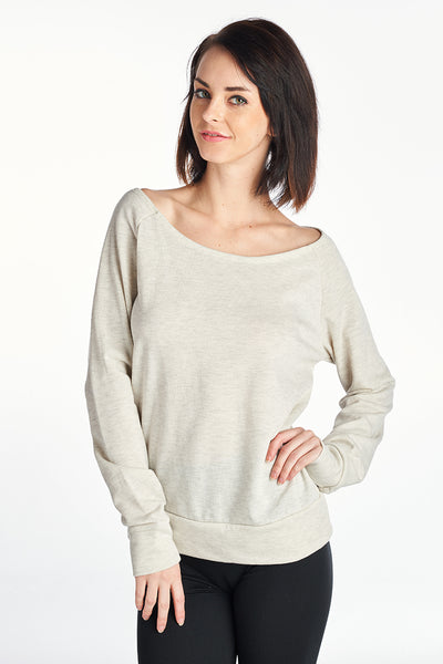 Two Tone French Terry Wide Neck Sweater