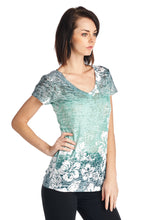 Hibiscus Flower Sublimation Burnout V-Neck Top