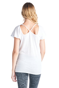 Triblend Line V Neck Top Plain