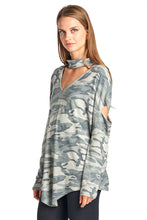 Women's Camo French Terry Open Arm Choker Long Sleeves Top