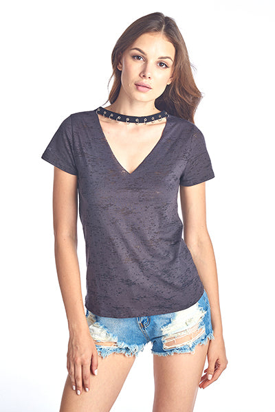 Pierce Choker Burnout V Neck Top
