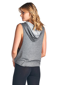 Women's VERY SOFT BABY FRENCH TERRY SLEEVELESS HOOD