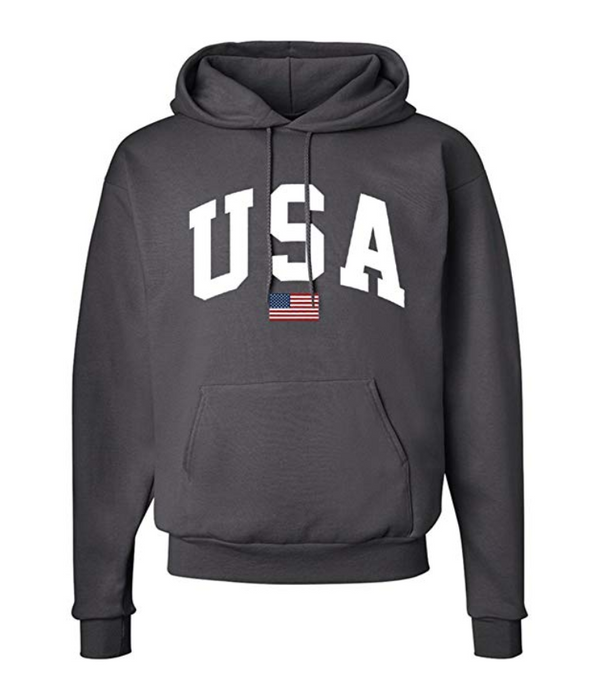 Unisex Hooded Sweatshirt with USA Flag Print
