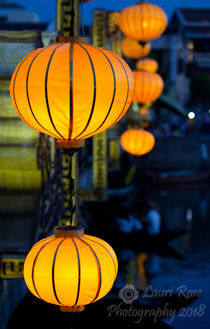 Limited Edition Photograph of Glowing Lanterns on the Thu-Bon River, in Hoi-An, Vietnam.  Photograph by Denver artist, Lauri R. Dunn.