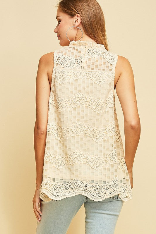 09618e30d55cdd LACE SLEEVELESS TOP. Size Charts