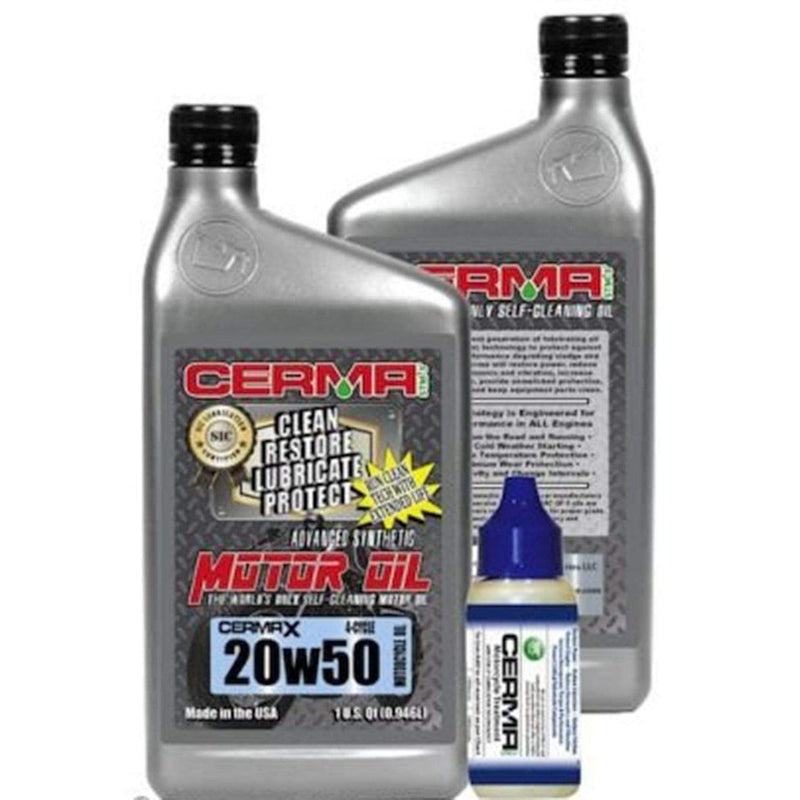 Cerma Ceramic Synthetic Oil Value Package for Motorcycles 20w50 Value Package  3 Quarts